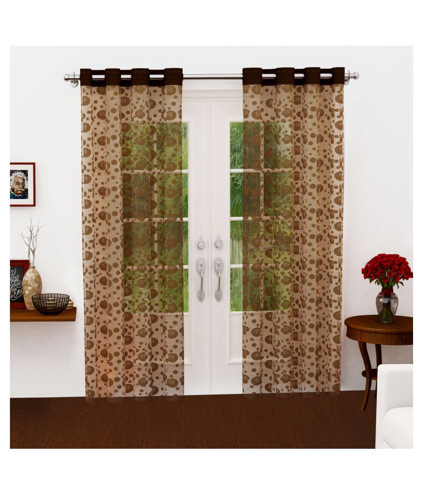 Story@Home Set of 2 Long Door Semi-Transparent Eyelet Polyester Curtains Brown