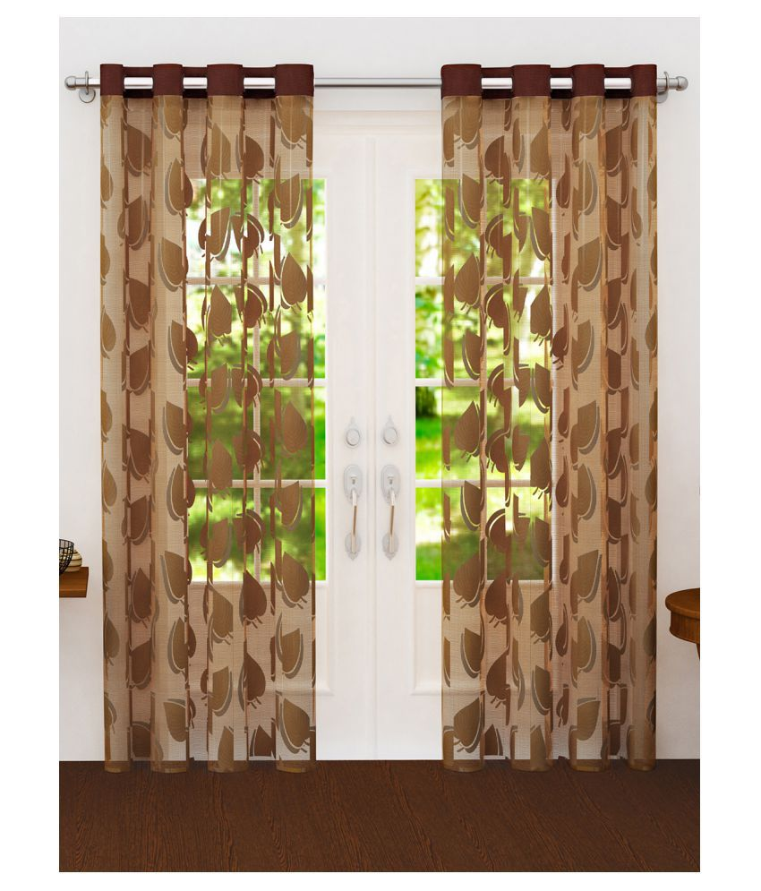 Story@Home Set of 2 Long Door Semi-Transparent Eyelet Polyester Curtains Beige