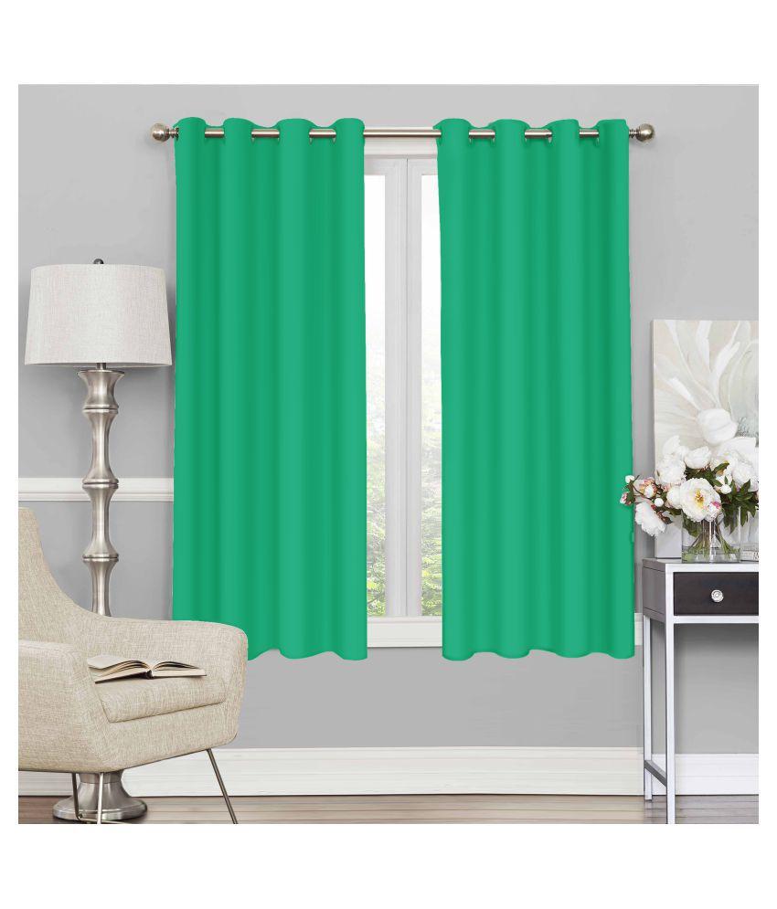 Story@Home Set of 2 Window Blackout Room Darkening Eyelet Silk Curtains Turquoise