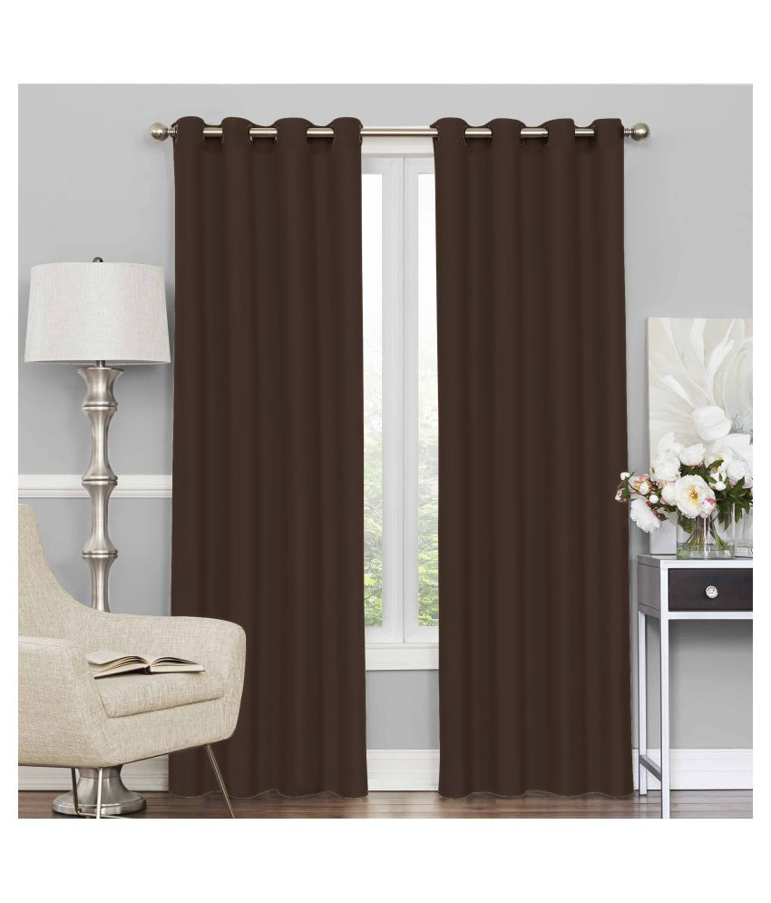 Story@Home Set of 2 Door Blackout Room Darkening Eyelet Silk Curtains Brown