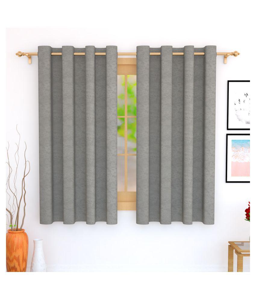 Story@Home Set of 2 Window Blackout Room Darkening Eyelet Jute Curtains Grey