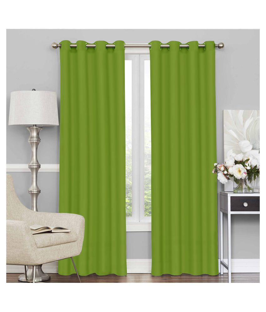 Story@Home Set of 2 Door Blackout Room Darkening Eyelet Silk Curtains Green