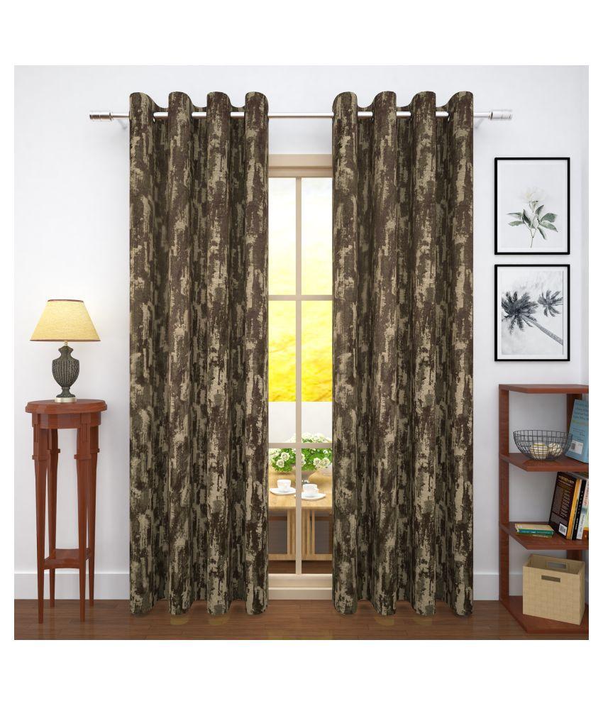 Story@Home Set of 4 Door Blackout Room Darkening Eyelet Jute Curtains Brown