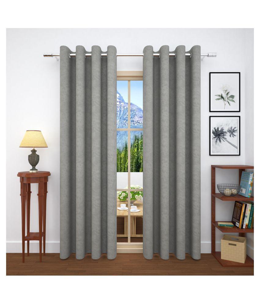 Story@Home Set of 4 Door Blackout Room Darkening Eyelet Jute Curtains Grey