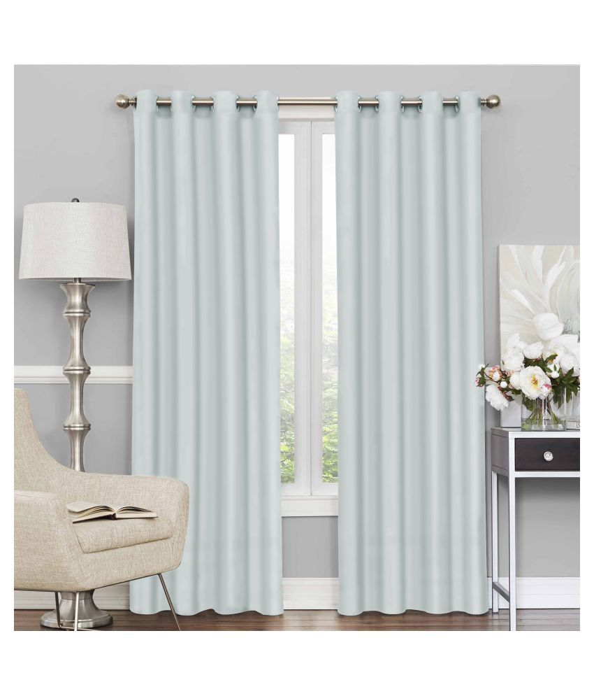 Story@Home Set of 4 Door Blackout Room Darkening Eyelet Silk Curtains Grey