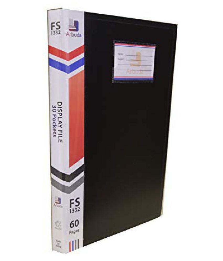 Display Book Arbuda Clear Folder Plastic File Display Presentation File 30 Pockets Black Colour Pack of 4 nos. F/S