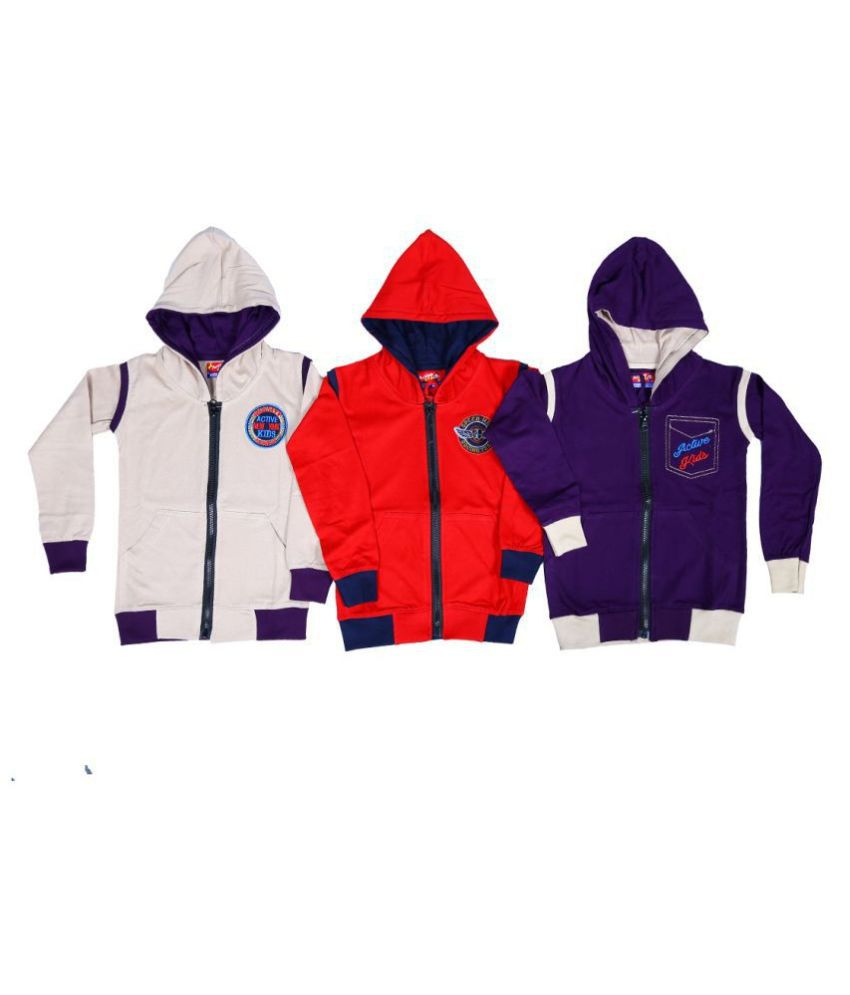1ly Garments, Boys Hooded Jacket, Pack of 3 Pieces (Sandal,Red,Purple)