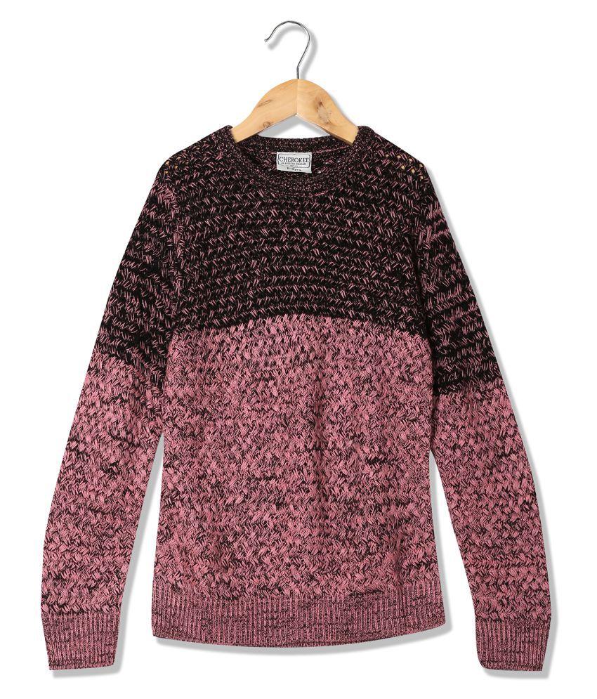 Girls Long Sleeve Patterned Knit Sweater