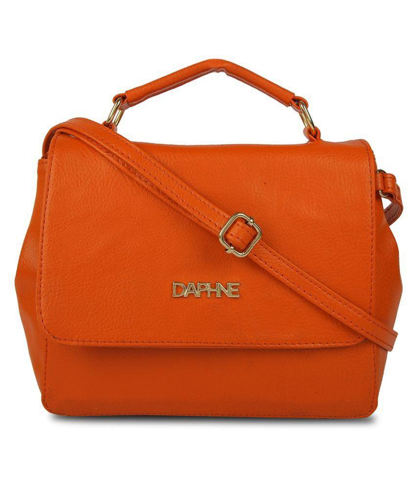 Daphne Tangerine Faux Leather Sling Bag