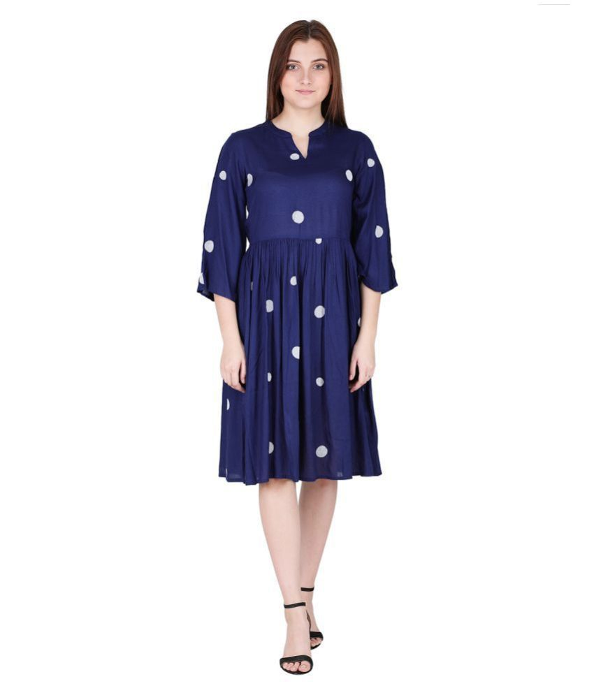 litlu Viscose Blue Regular Dress