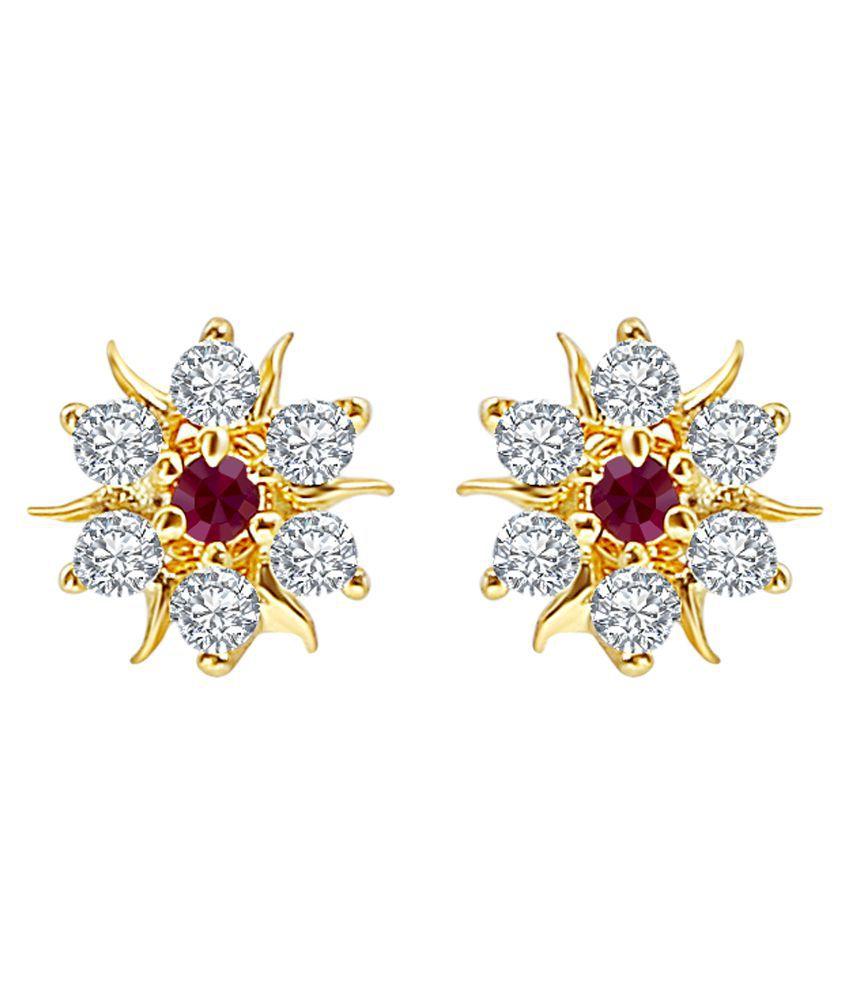 MFJ Fashion Jewellery Enchanting Brass Gold Plated Stud Earring For Women