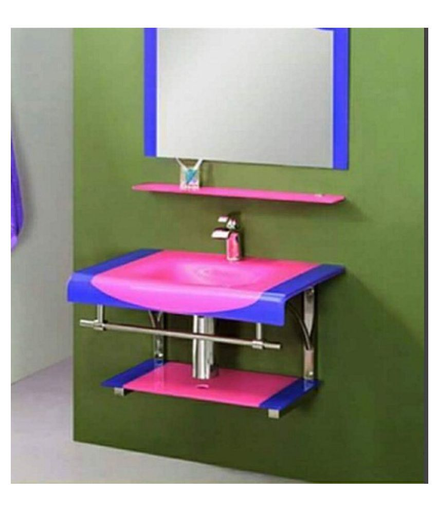 ARVIND SANITARY Pink Toughened Glass Wall Hung Wash Basins