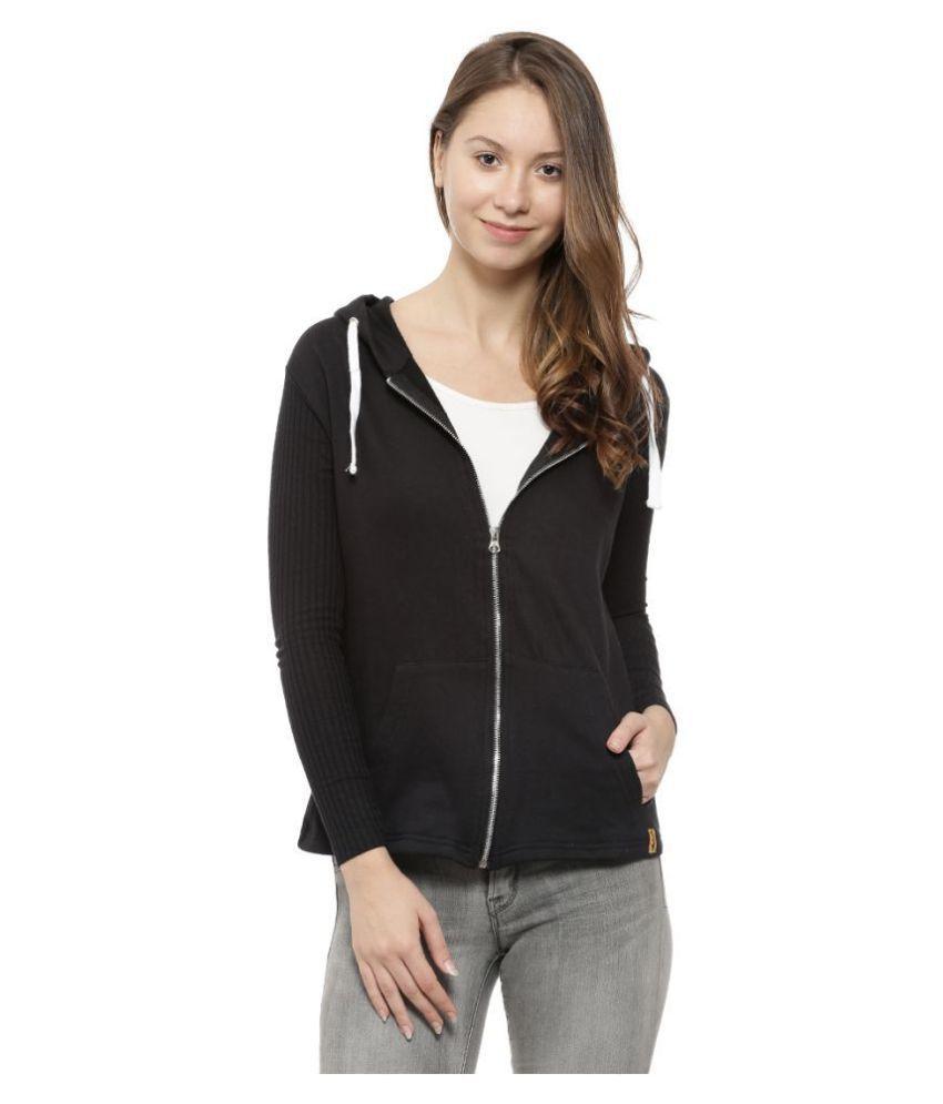Campus Sutra Cotton Black Hooded Sweatshirt