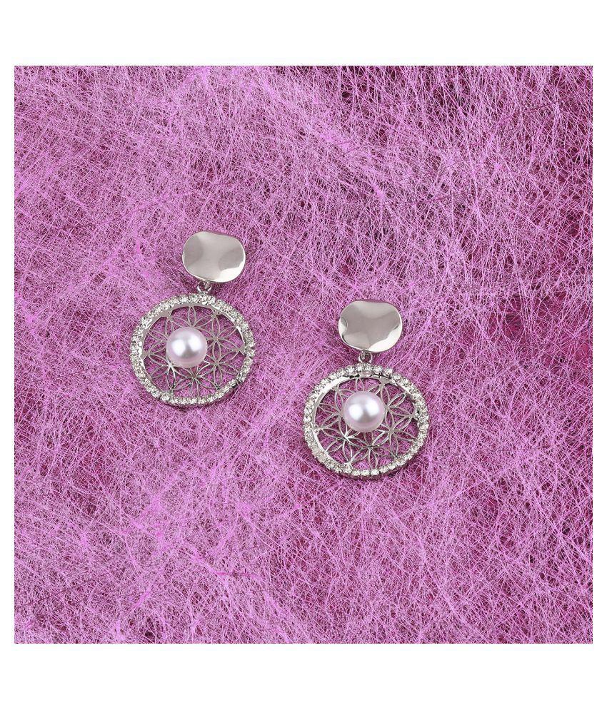 SILVER SHINE Fashion Stylish Silver Fancy look Drop Earring For Women Girl