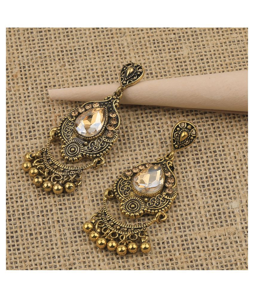 SILVER SHINE Charm Delicated Patry Wear Golden Dangle Earring For Women Girl
