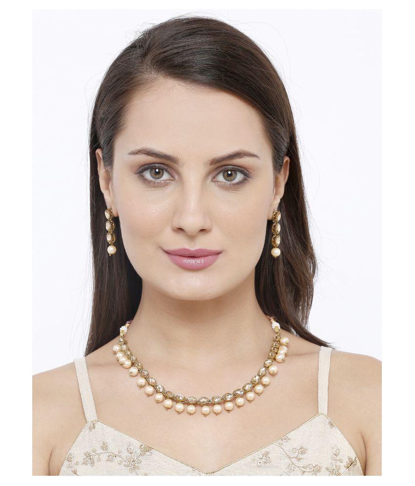 Salwar Studio Zinc Golden Other Designer Gold Plated Necklaces Set