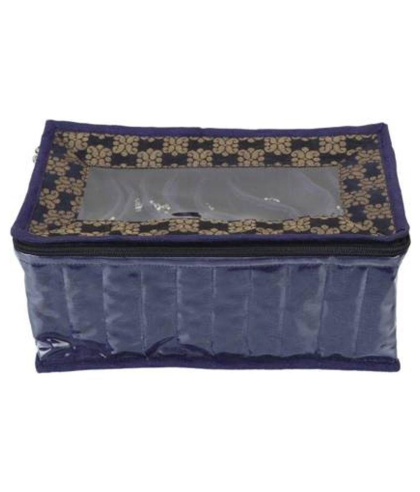 Shopocus Laminated 1 Piece Satin 10 Pouch Jewellery Box, blue