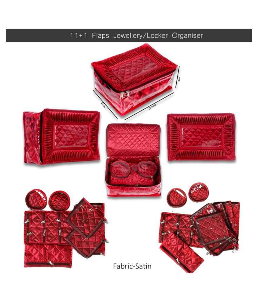 Shopocus Locker Jewellery Kit, Box In Velvet Quilted Material With 12 Pouches (Red)