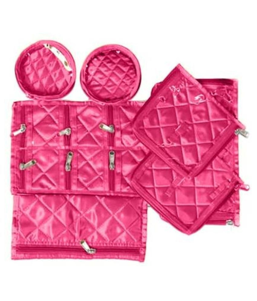 Shopocus Locker Jewellery Kit, Box In Velvet Quilted Material With 12 Pouches (pink)