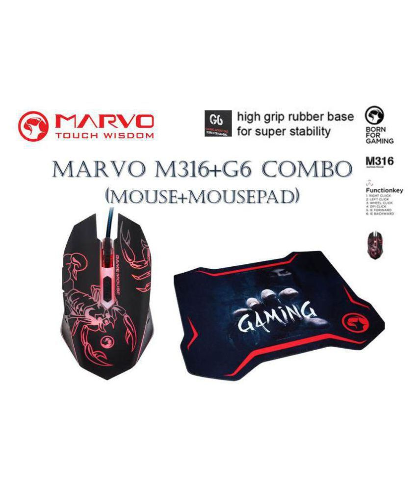 Marvo M316+G6 Gaming Mouse Optical Mouse   Wired   Mouse With Mouse Pad Combo