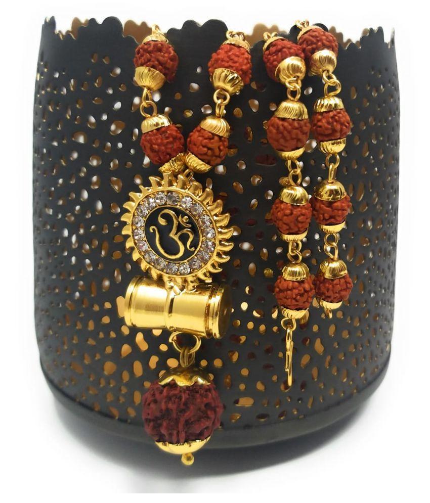 Happy Stoning Latest 2020 Traditional Religious Shiv Shakti Kavach with Rudraksh Mala