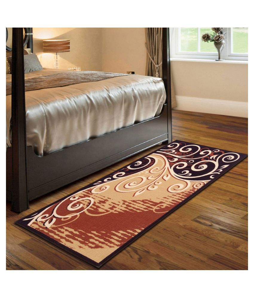 Beautiful Homes Beige Runner Single Polyester Abstract 2x5 Ft