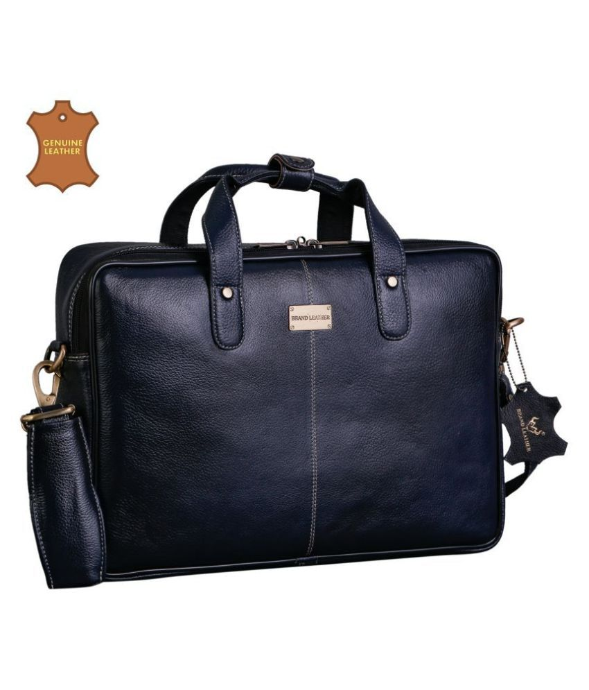 Brand Leather Blue Leather Office Bag