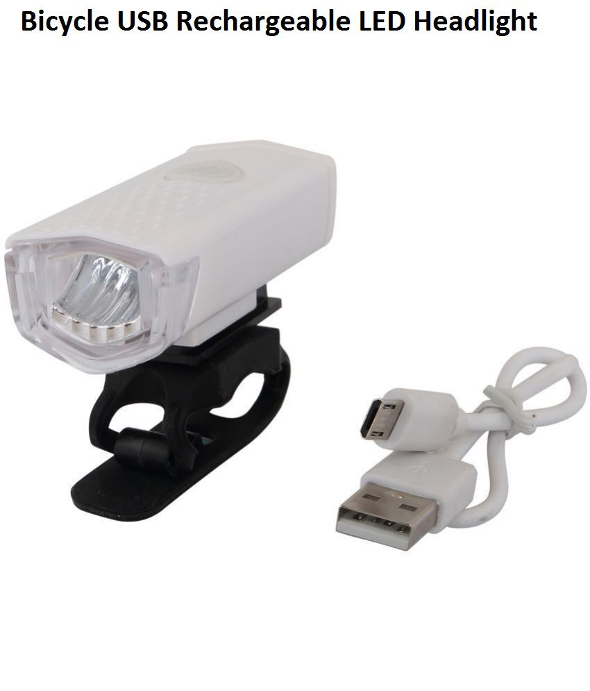 Dark Horse Bicycle USB Rechargeable LED Headlight with 3 Modes 300 LM Cycling Light Flashlight,Compact in Size, White