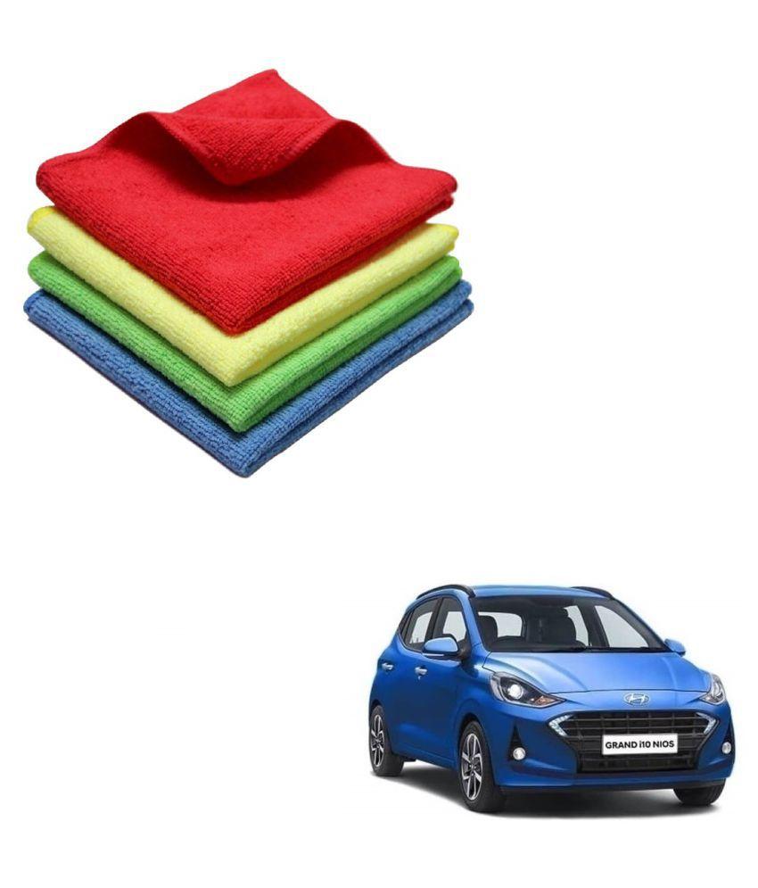 Kozdiko Microfiber Cleaning Cloth Car 300GSM 40x40 cm Pack of 4 For Hyundai Grand i10 Nios