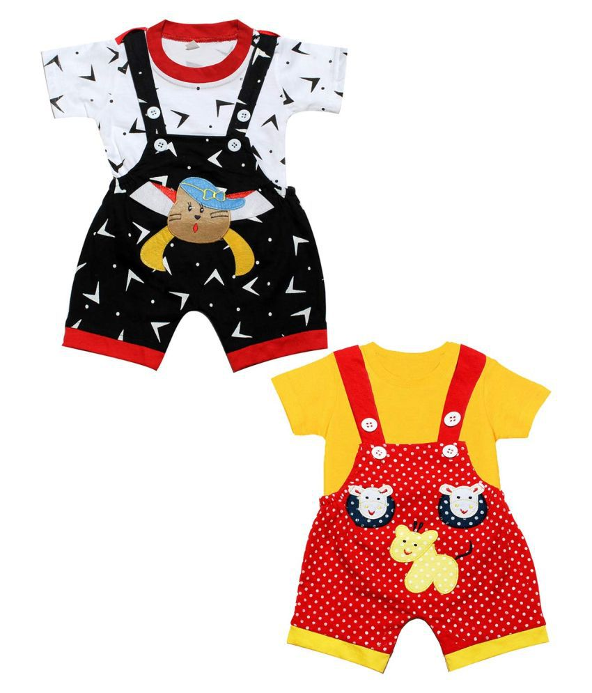 babeezworld dungaree for Boys & Girls casual printed pure cotton- Pack of 2 (Multicolour; 6-9 Months)