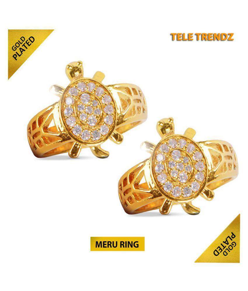 Meru Ring Gold Plated Buy 1 Get 1 Free   Meru Ring Copper Diamond Gold Plated Ring
