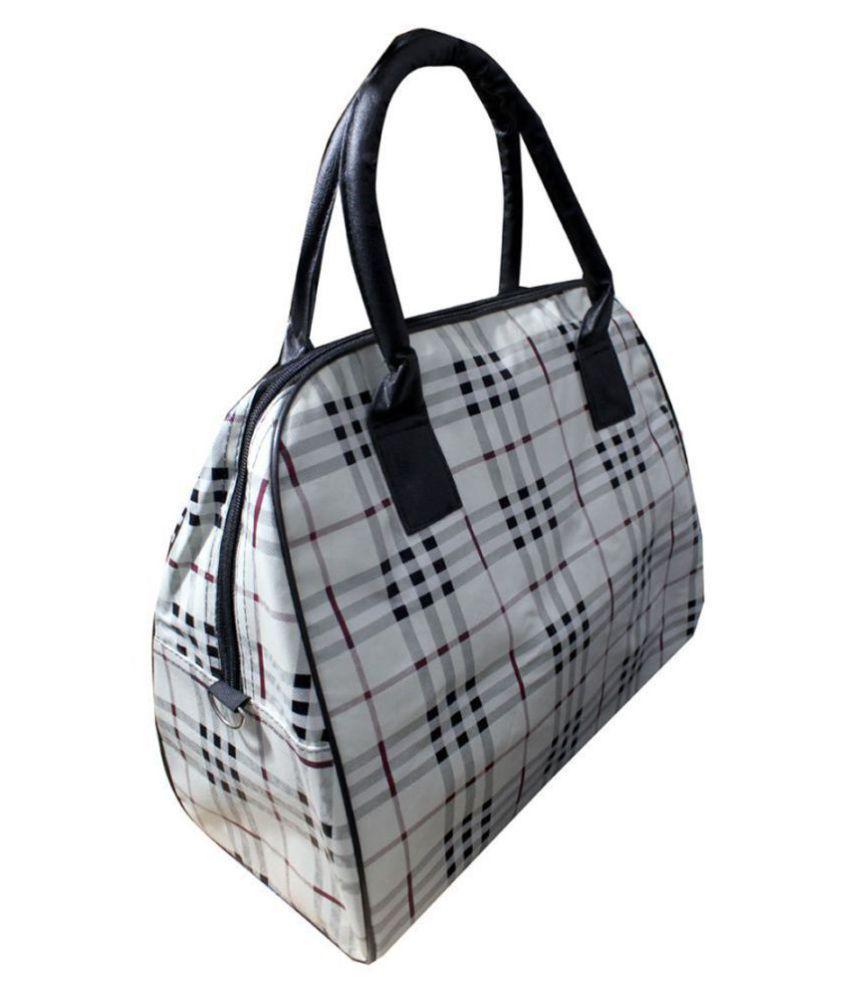 HD White Solid M Duffle Bag