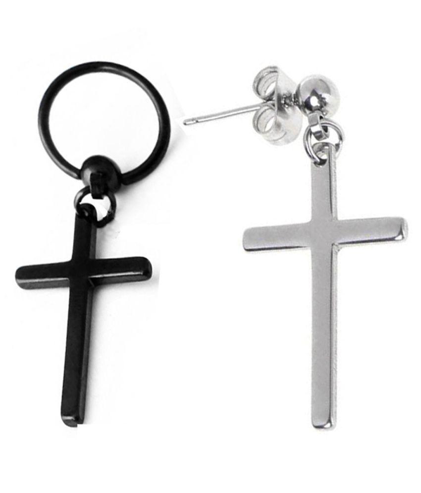 Men Style Religious Jewelry Christmas Jesus Cross Black Silver Stainless Steel Hoop Stud Earring