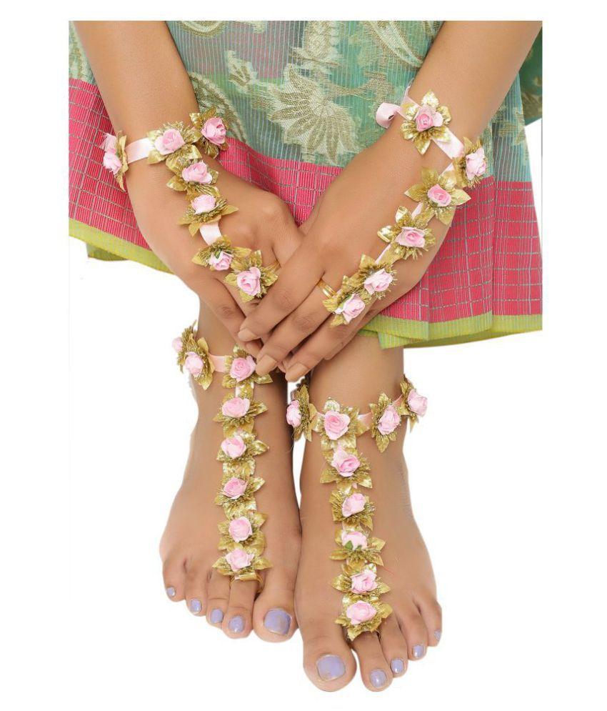 Sanjog Flourish Foot Harness And Hand Harness Finger Ring Payal Anklet For Wedding Haldi Mahendi Ceremony (Light Pink)