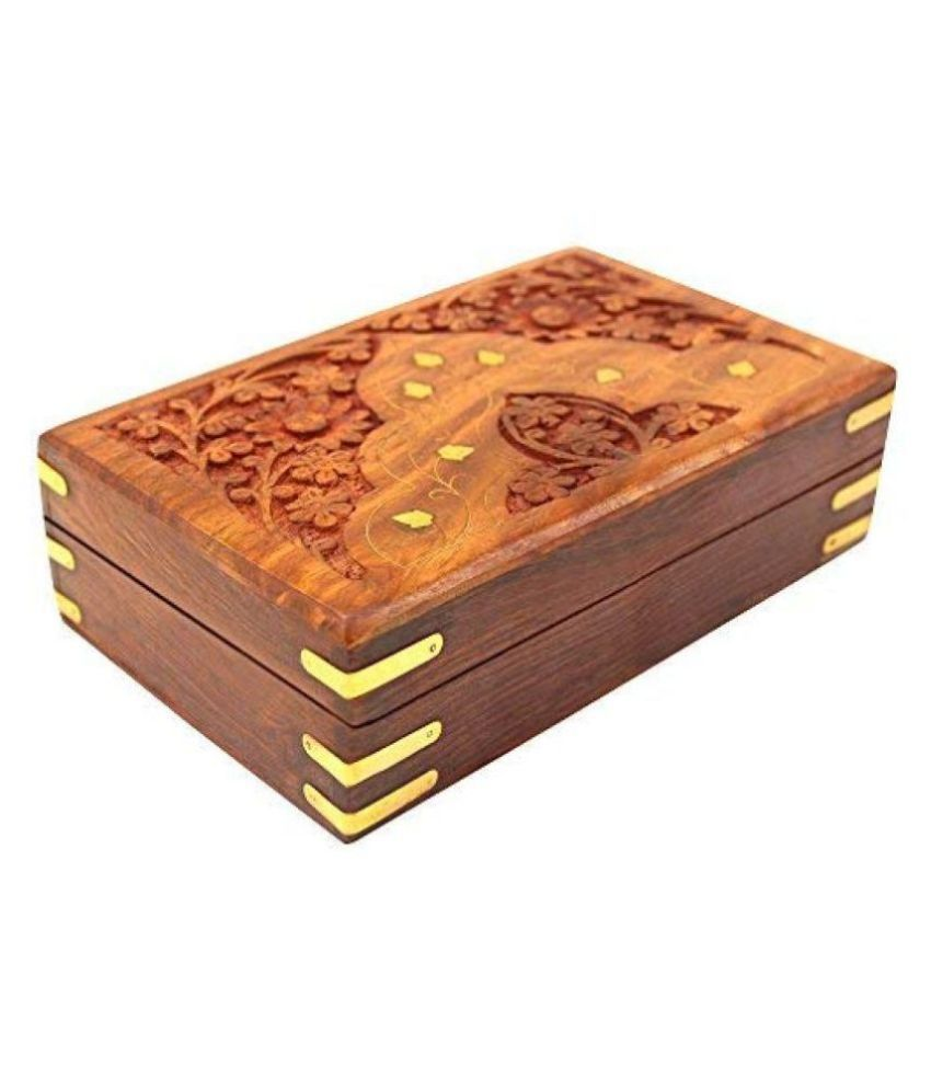 Handmade Wooden Jewellery Box for Women Jewel Organizer Hand Carvings Gift Items