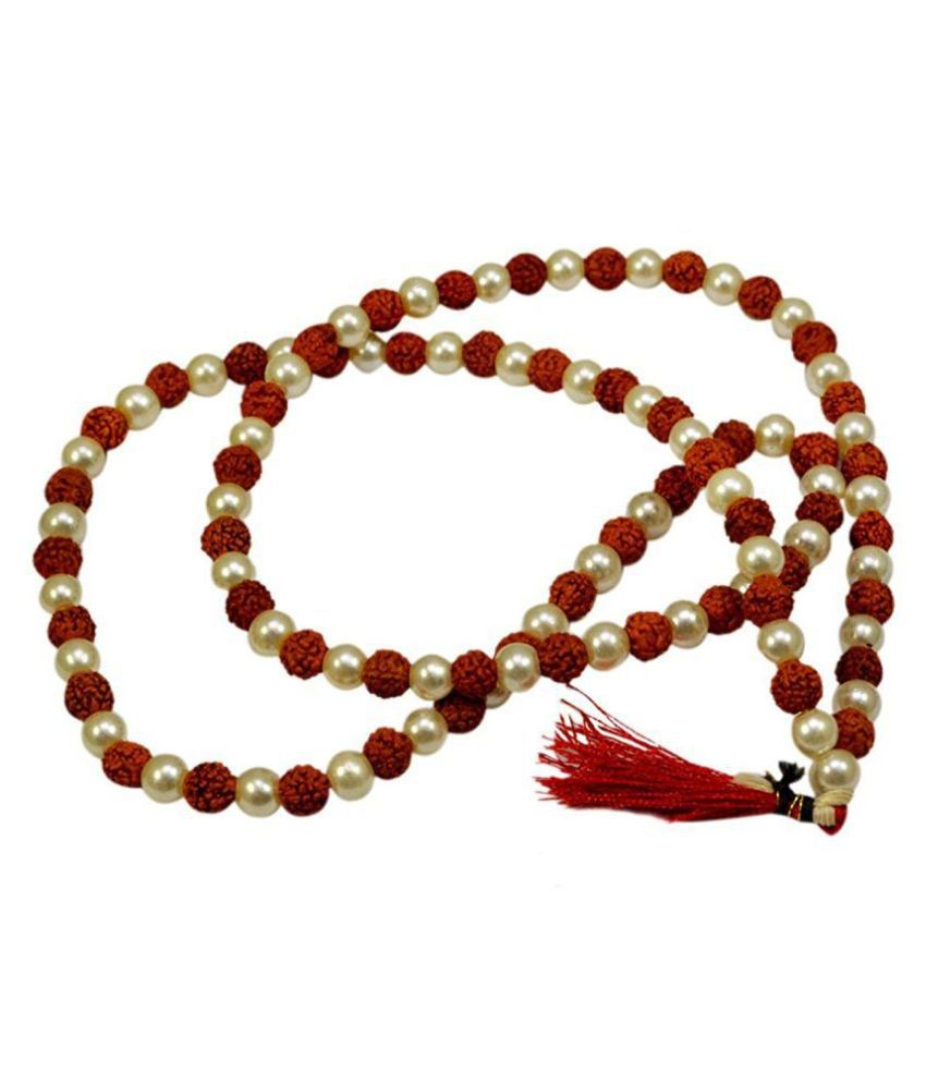 Rudraksha and Moti/Pearl Prayer Wood Necklace 108+1 Beads