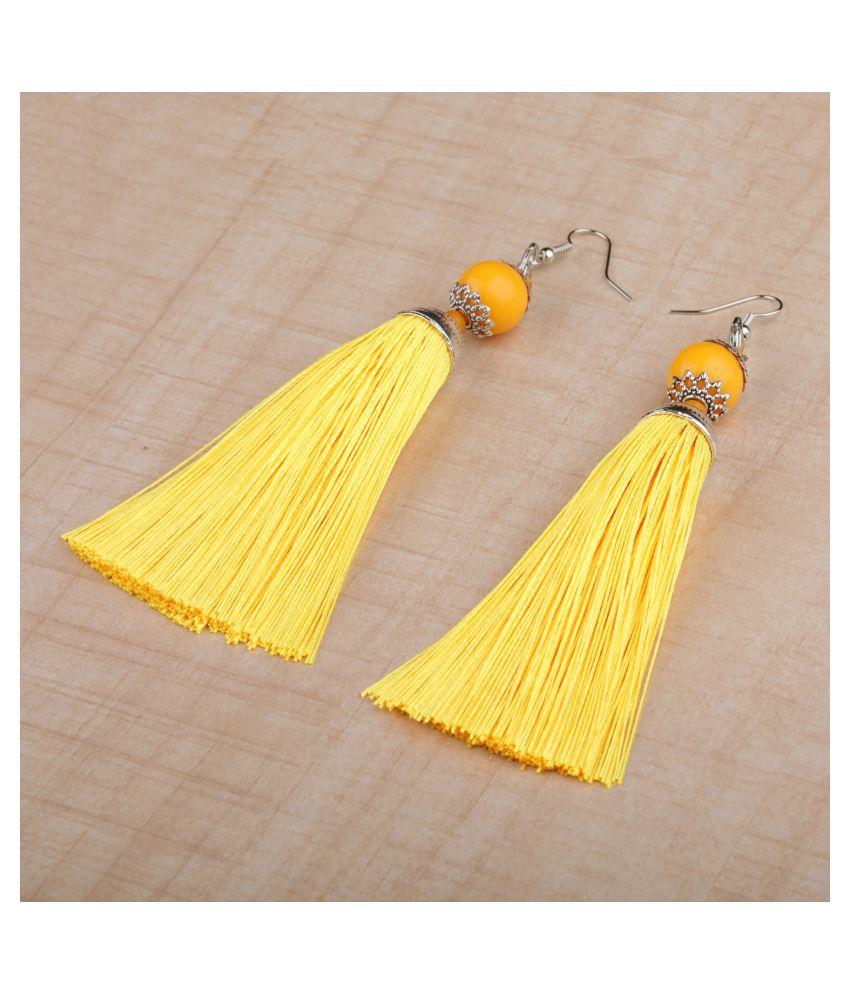 Silver Shine Elegant Yellow Long Thread Tassel Earrings for Women