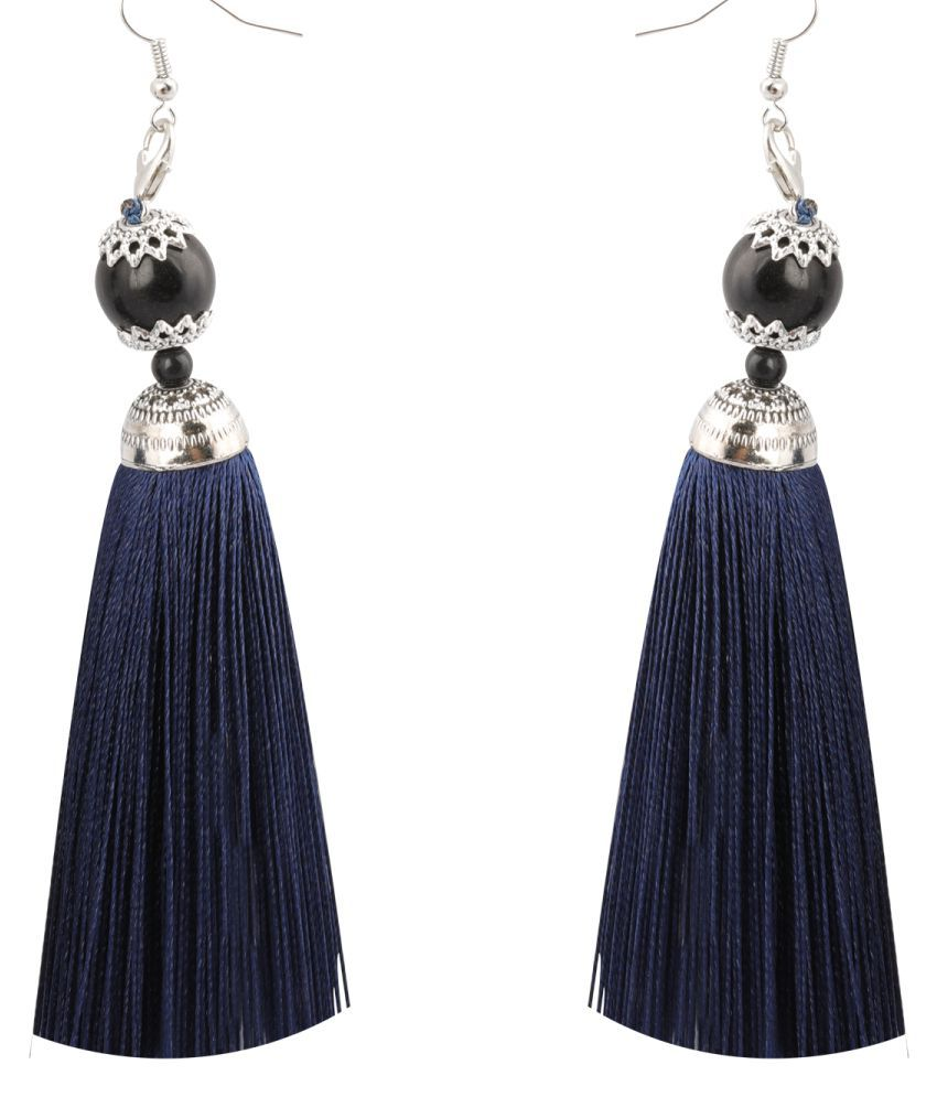 Silver Shine Facinating Blue Long Thread Tassel Earrings for Women