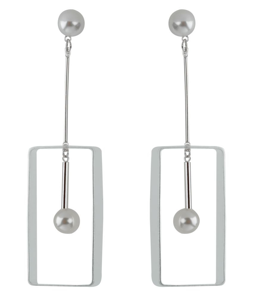 Silver Shine Silver Plated Uique Designer Partywear Pearl Drop Earring for Girls and Women