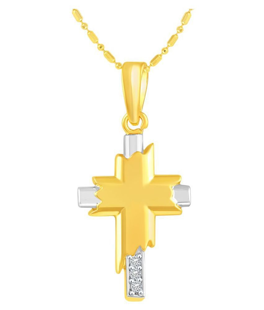 VIRINA Christain Cross Gold Plated Alloy Cubic Zirconia Studded God Pendant with Chain for Women & Men [VGP1021G]