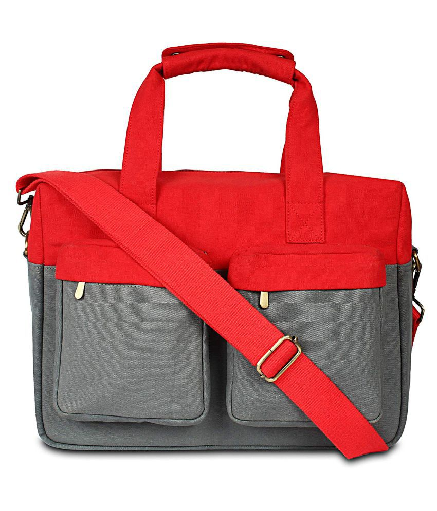 Babesandbabas Red Canvas Shoulder Bag