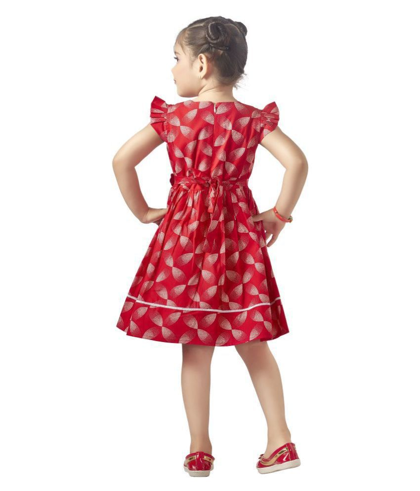 Dee & Ach Red Knee Length Round Cap Sleeves Cotton Dress