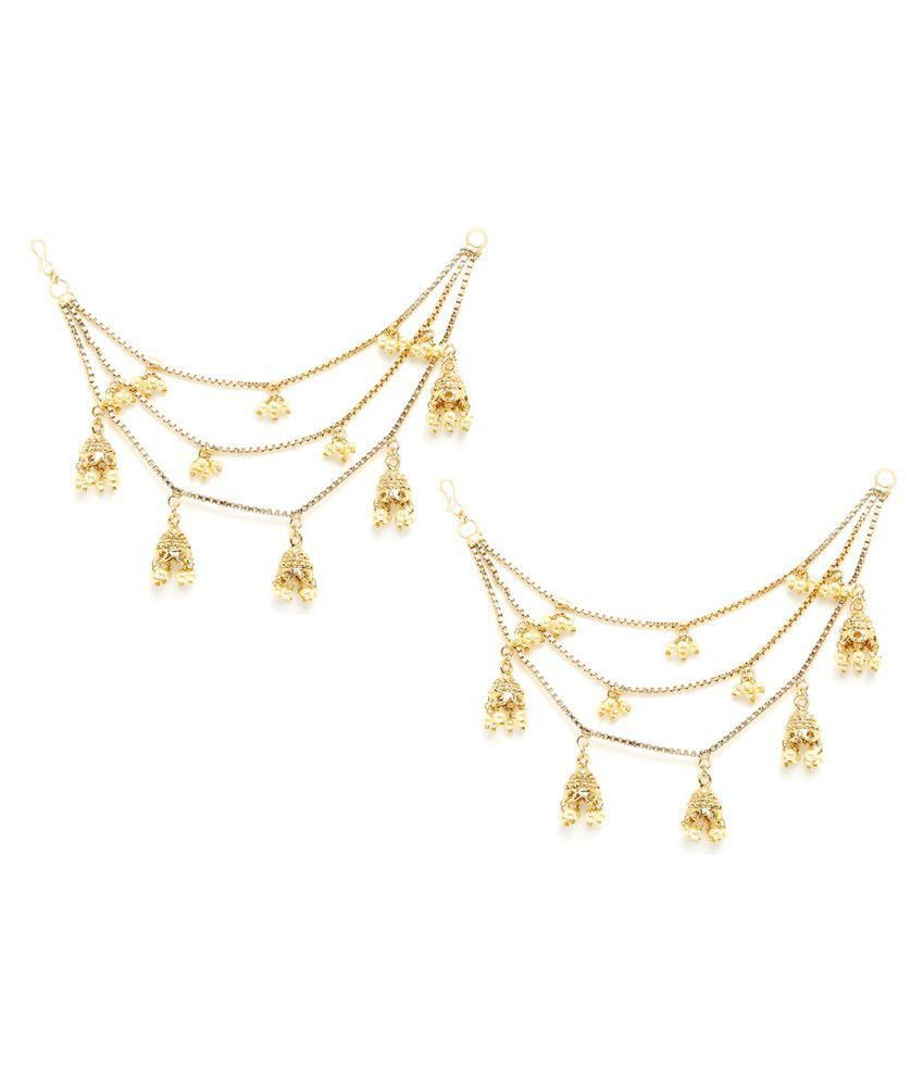 Salwar Studio Gold Plated Triple layer Long Chain Jhumki Hair Chain Accessories for Earrings for Women