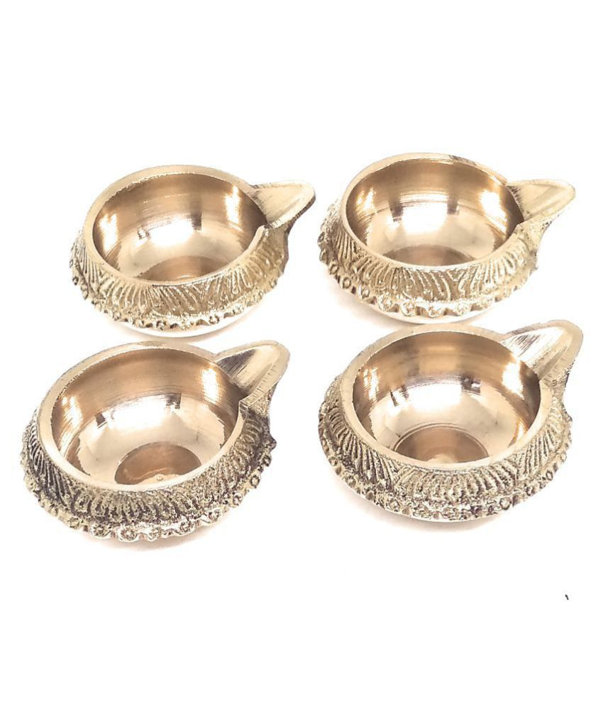 Ashtadhatu Kuber Diya Oil Lamp In Brass For Puja Temple - 4 Piece (Small)
