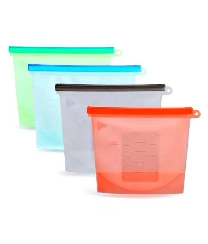 Koram Reusable Silicon Bag PET Food Container Set of 4 1000 mL