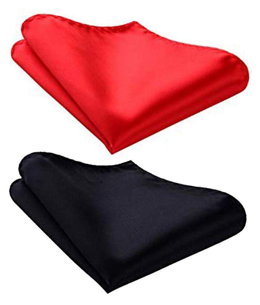 Men's Satin Red & Black Pocket Square Combo