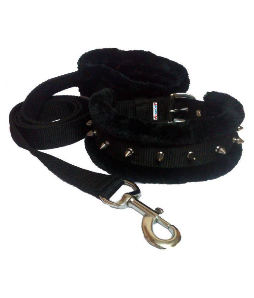 Petshop7 High Quality Spike Dog Collar & Leash Brown - Large- 1.25 Inch (Neck Girth :  17 - 20 inch)