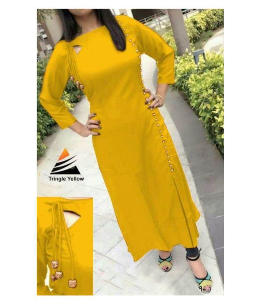 Urban Woman Yellow Rayon A-line Kurti
