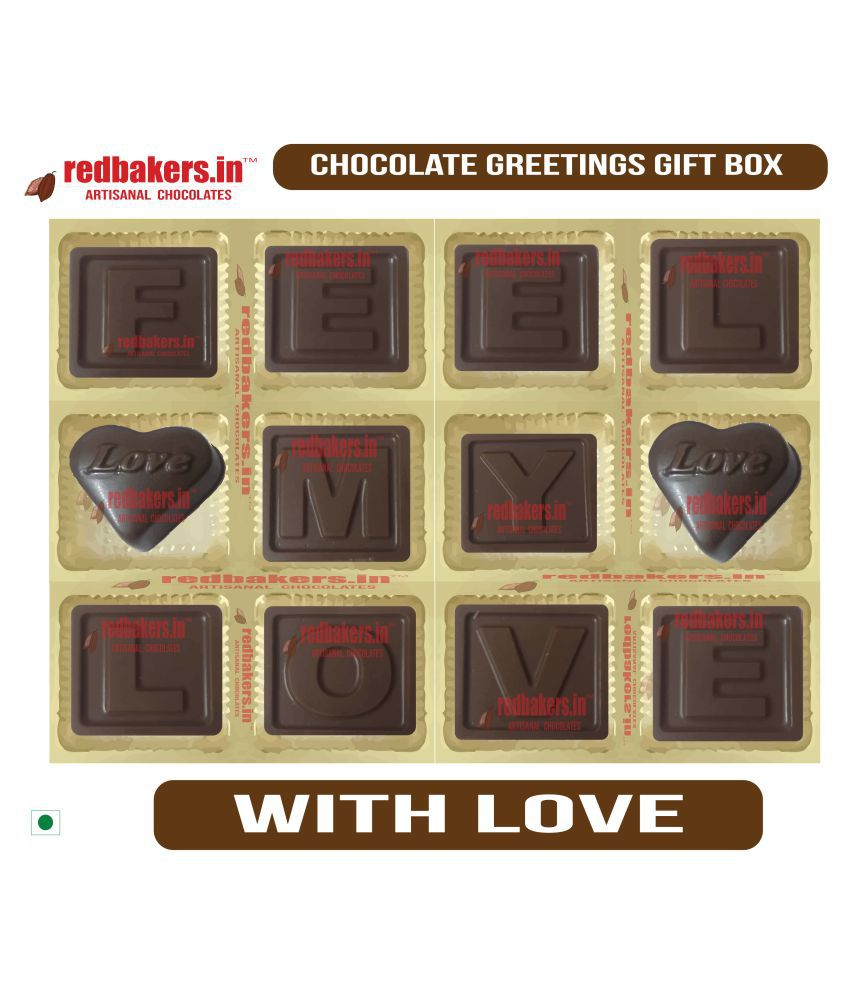 redbakers.in Chocolate Box Feel my Love Chocolate Greetings 180 gm