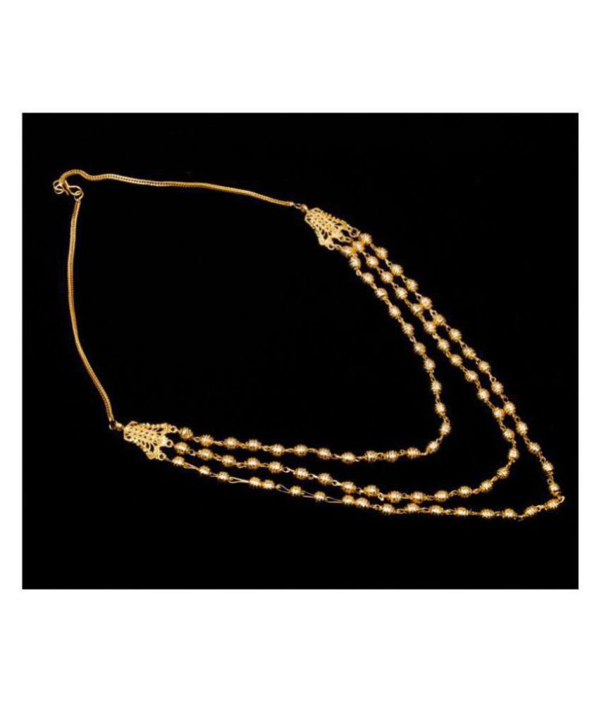 Piah Brass Golden Traditional Necklace Long Haram